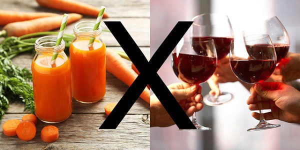 Không dùng rượu chung với cà rốt